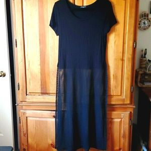 Anthropologie Short Sleeve Mesh Maxi Dress